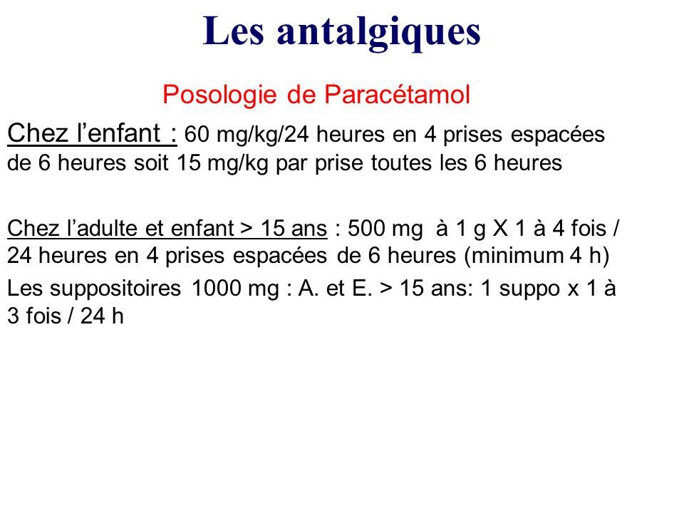 Posologie de Paracétamol Chez lenfant : 60 mg/kg/24 heures en 4 prises espacées de 6 heures soit 15 mg/kg par prise toutes les 6 heures Chez ladulte e
