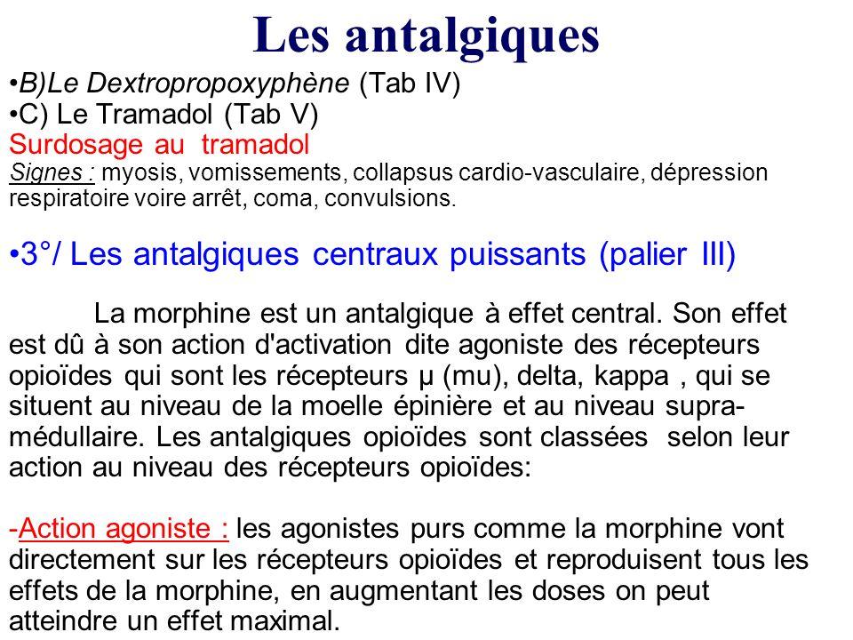 B)Le Dextropropoxyphène (Tab IV) C) Le Tramadol (Tab V) Surdosage au tramadol Signes : myosis, vomissements, collapsus cardio-vasculaire, dépression r