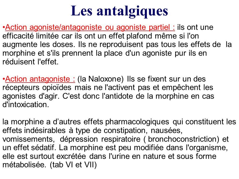 Action agoniste/antagoniste ou agoniste partiel : ils ont une efficacité limitée car ils ont un effet plafond même si l'on augmente les doses. Ils ne