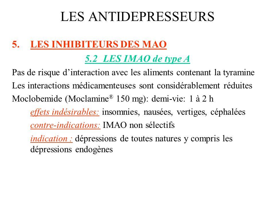 5.LES INHIBITEURS DES MAO 5.2LES IMAO de type A Pas de risque dinteraction avec les aliments contenant la tyramine Les interactions médicamenteuses so