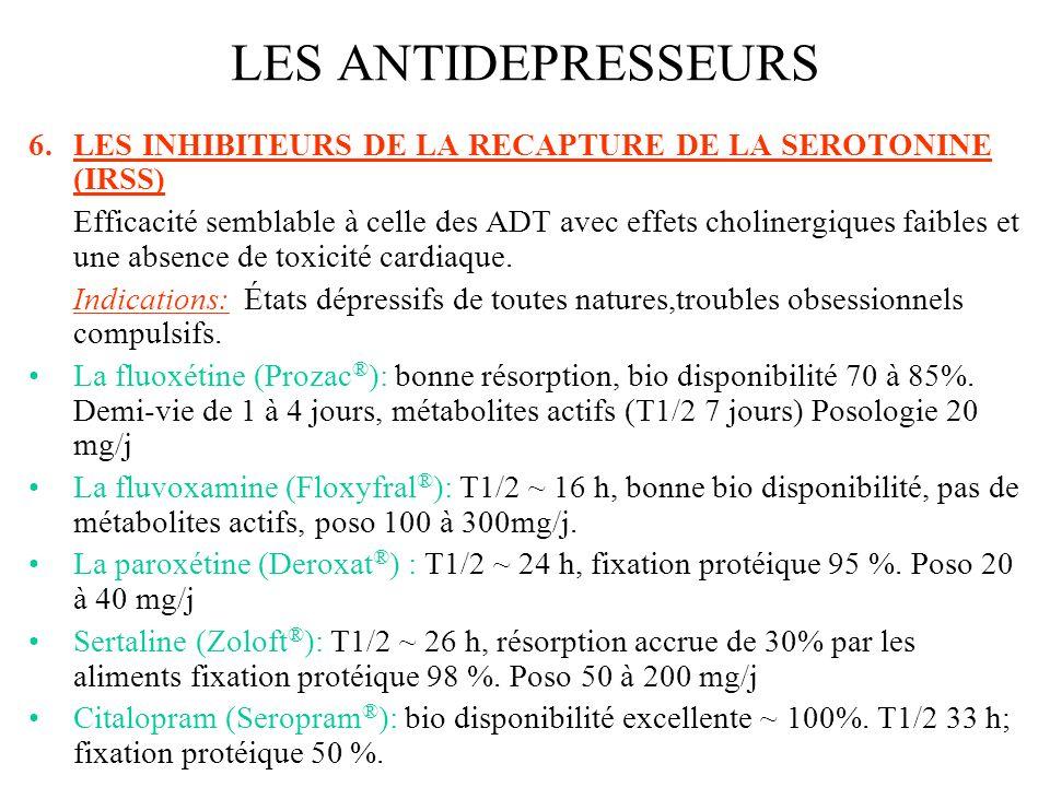 6.LES INHIBITEURS DE LA RECAPTURE DE LA SEROTONINE (IRSS) Efficacité semblable à celle des ADT avec effets cholinergiques faibles et une absence de to