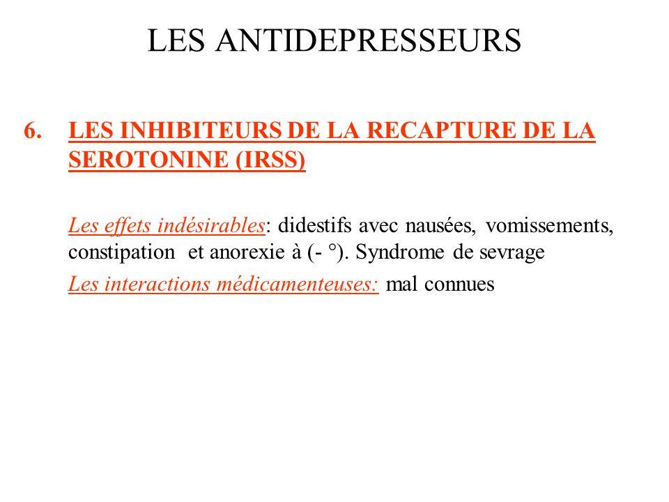 6.LES INHIBITEURS DE LA RECAPTURE DE LA SEROTONINE (IRSS) Les effets indésirables: didestifs avec nausées, vomissements, constipation et anorexie à (-