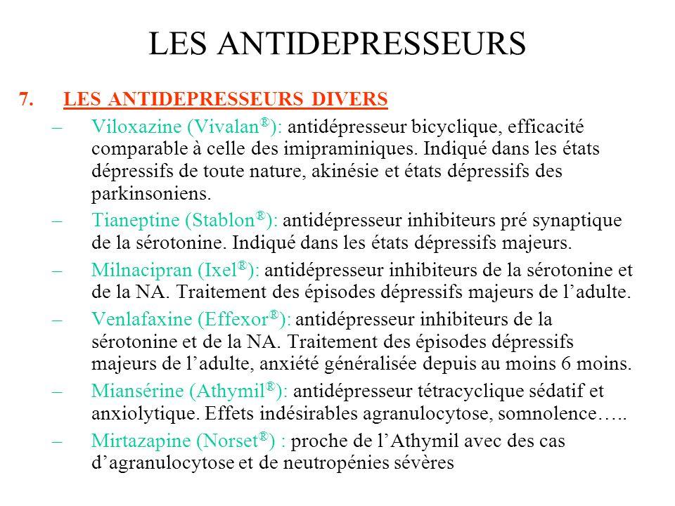 7.LES ANTIDEPRESSEURS DIVERS –Viloxazine (Vivalan ® ): antidépresseur bicyclique, efficacité comparable à celle des imipraminiques. Indiqué dans les é
