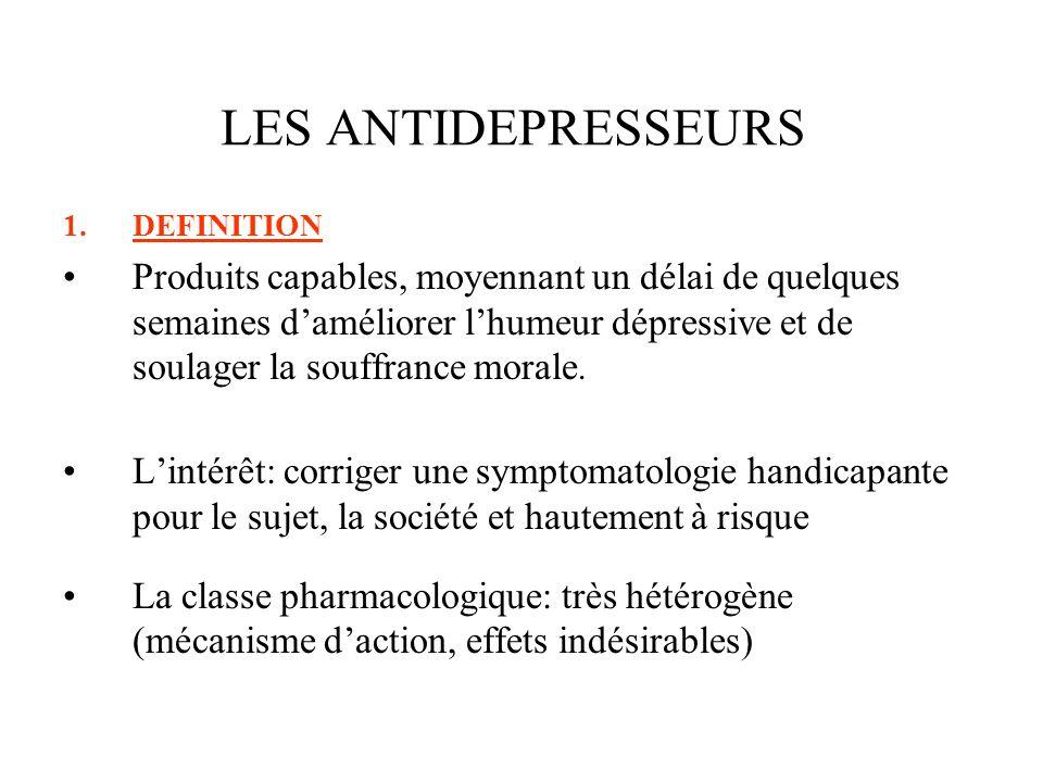 2.CLASSIFICATION 2.1HISTORIQUE Les ATD tricycliques: les premiers découverts Les ATD inhibiteurs de la mono amine oxydase non sélectifs EI: cardiotoxicité des TCA, crises hypertensives des IMAO Les inhibiteurs sélectifs de la recapture sérotoninergique Les apparentés tricycliques LES ANTIDEPRESSEURS