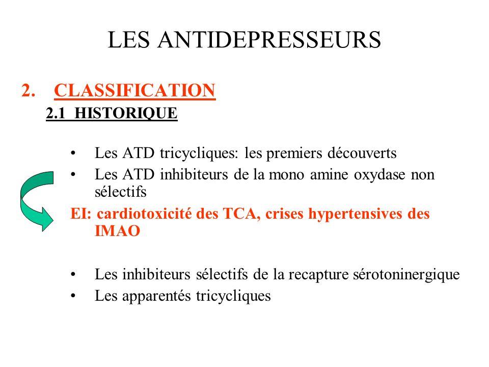 2.CLASSIFICATION 2.1HISTORIQUE Les ATD tricycliques: les premiers découverts Les ATD inhibiteurs de la mono amine oxydase non sélectifs EI: cardiotoxi
