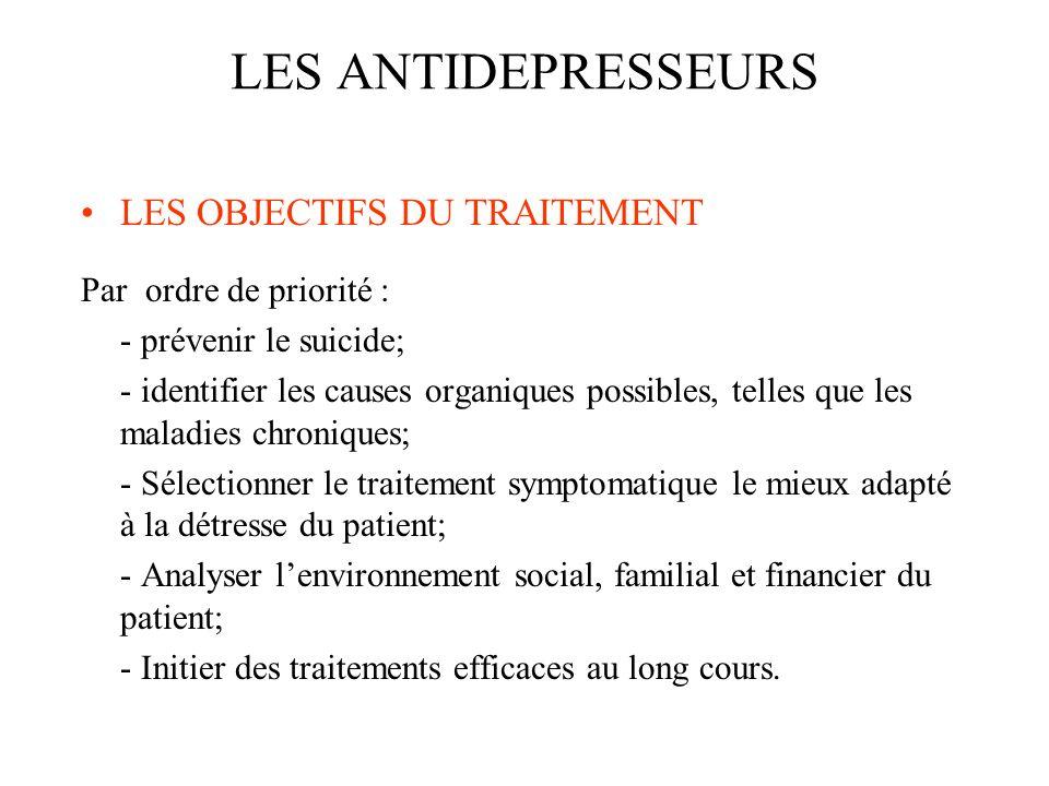LES OBJECTIFS DU TRAITEMENT Par ordre de priorité : - prévenir le suicide; - identifier les causes organiques possibles, telles que les maladies chron