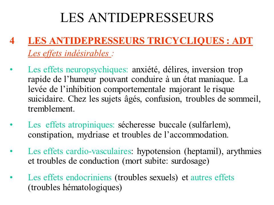 4.LES ANTIDEPRESSEURS TRICYCLIQUES : ADT Les contre-indications : troubles sévères de conduction cardiaque, le glaucome par fermeture de langle, les hypertrophies et adénomes prostatiques, lhypersensibilité à lun des produits.