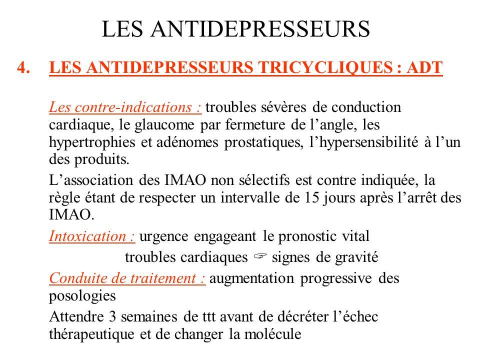 4.LES ANTIDEPRESSEURS TRICYCLIQUES : ADT Les contre-indications : troubles sévères de conduction cardiaque, le glaucome par fermeture de langle, les h