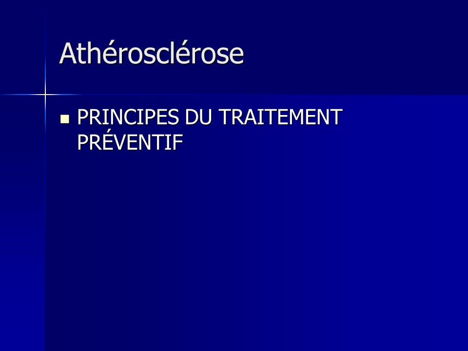 Athérosclérose PRINCIPES DU TRAITEMENT PRÉVENTIF PRINCIPES DU TRAITEMENT PRÉVENTIF