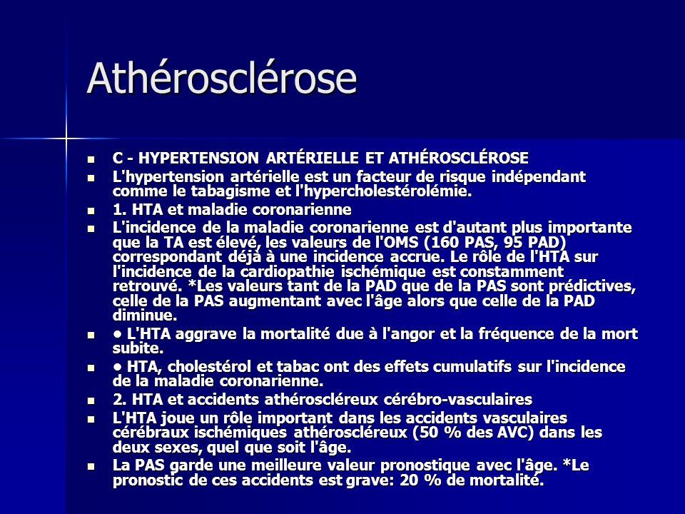 Athérosclérose C - HYPERTENSION ARTÉRIELLE ET ATHÉROSCLÉROSE C - HYPERTENSION ARTÉRIELLE ET ATHÉROSCLÉROSE L'hypertension artérielle est un facteur de