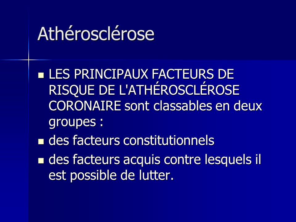 Athérosclérose LES PRINCIPAUX FACTEURS DE RISQUE DE L'ATHÉROSCLÉROSE CORONAIRE sont classables en deux groupes : LES PRINCIPAUX FACTEURS DE RISQUE DE