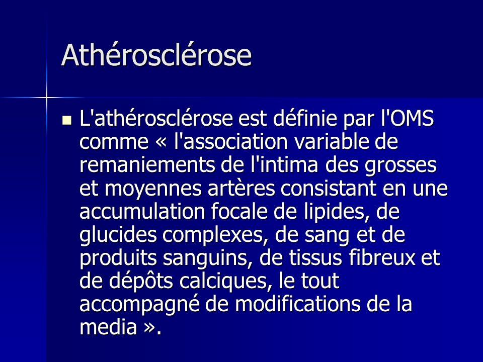 Athérosclérose L'athérosclérose est définie par l'OMS comme « l'association variable de remaniements de l'intima des grosses et moyennes artères consi