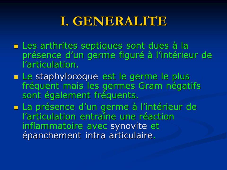 I. GENERALITE Les arthrites septiques sont dues à la présence dun germe figuré à lintérieur de larticulation. Les arthrites septiques sont dues à la p