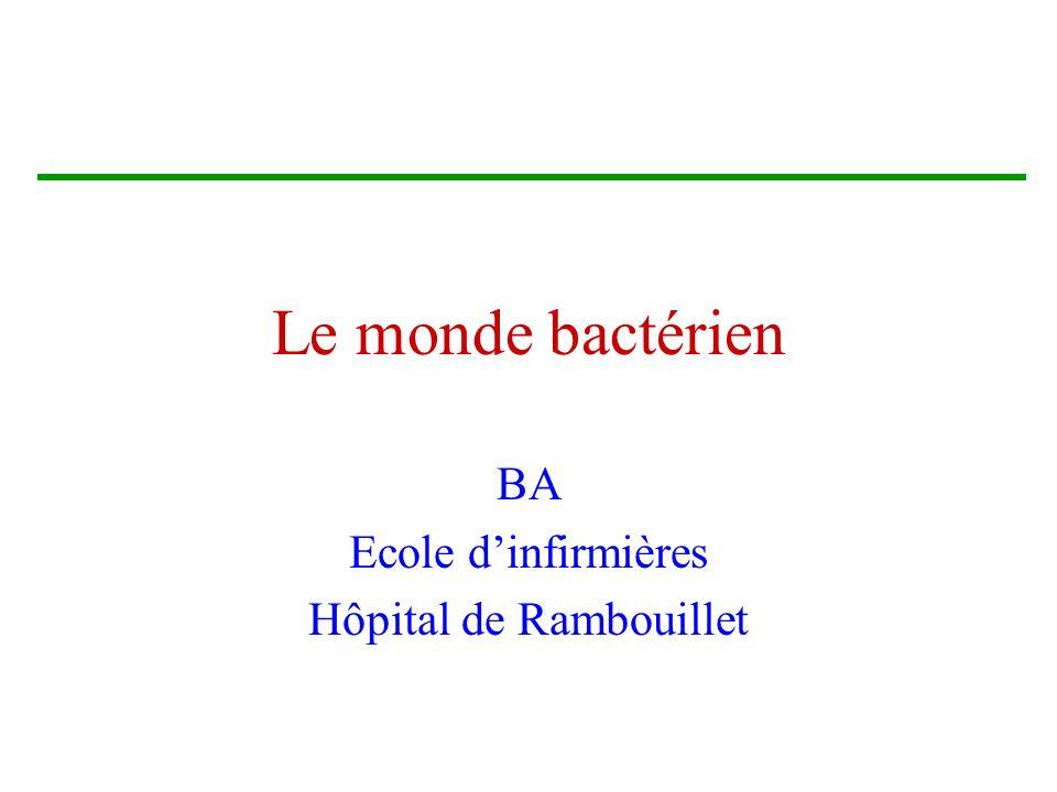 Le monde bactérien BA Ecole dinfirmières Hôpital de Rambouillet