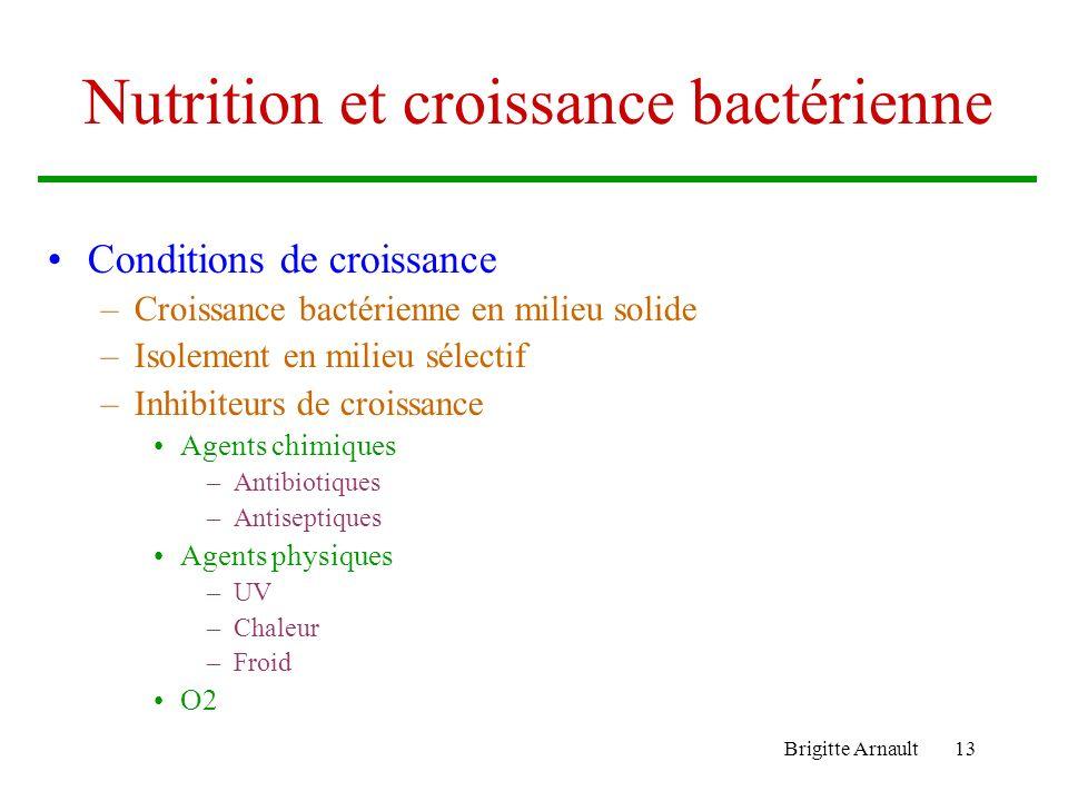 Brigitte Arnault13 Nutrition et croissance bactérienne Conditions de croissance –Croissance bactérienne en milieu solide –Isolement en milieu sélectif