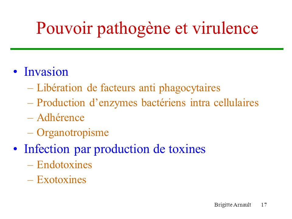 Brigitte Arnault17 Pouvoir pathogène et virulence Invasion –Libération de facteurs anti phagocytaires –Production denzymes bactériens intra cellulaire