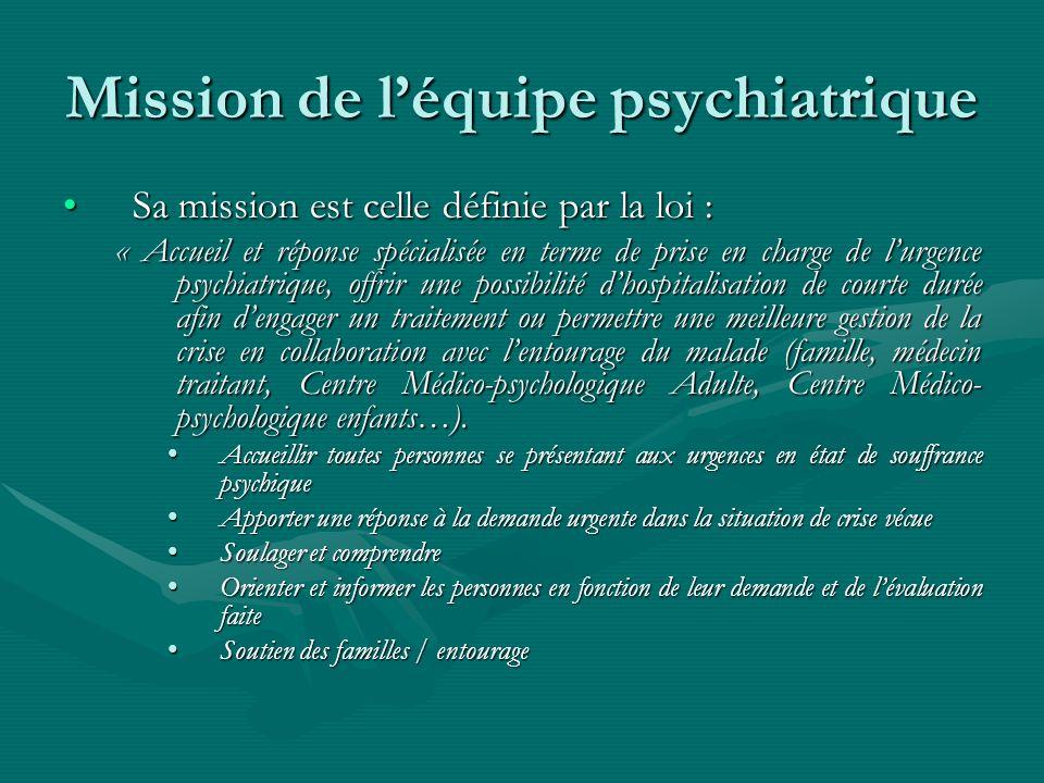 Mission de léquipe psychiatrique Sa mission est celle définie par la loi :Sa mission est celle définie par la loi : « Accueil et réponse spécialisée e