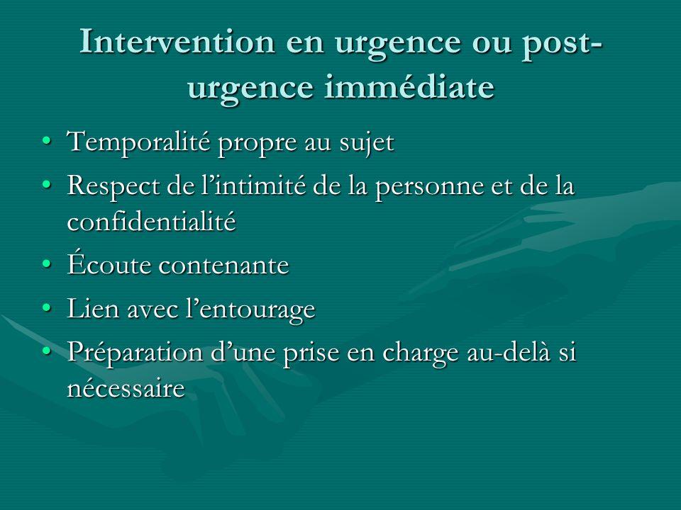 Intervention en urgence ou post- urgence immédiate Temporalité propre au sujetTemporalité propre au sujet Respect de lintimité de la personne et de la