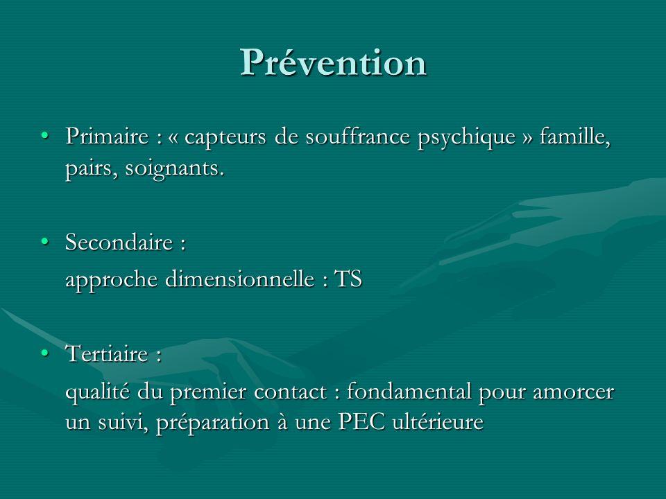 Prévention Primaire : « capteurs de souffrance psychique » famille, pairs, soignants.Primaire : « capteurs de souffrance psychique » famille, pairs, s