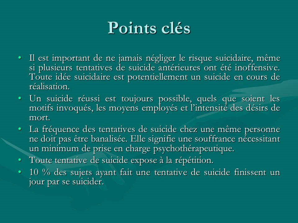 Points clés Il est important de ne jamais négliger le risque suicidaire, même si plusieurs tentatives de suicide antérieures ont été inoffensive. Tout