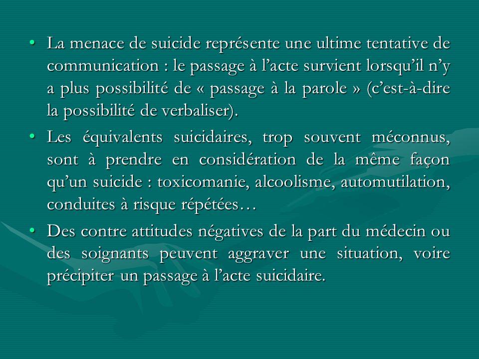 La menace de suicide représente une ultime tentative de communication : le passage à lacte survient lorsquil ny a plus possibilité de « passage à la p