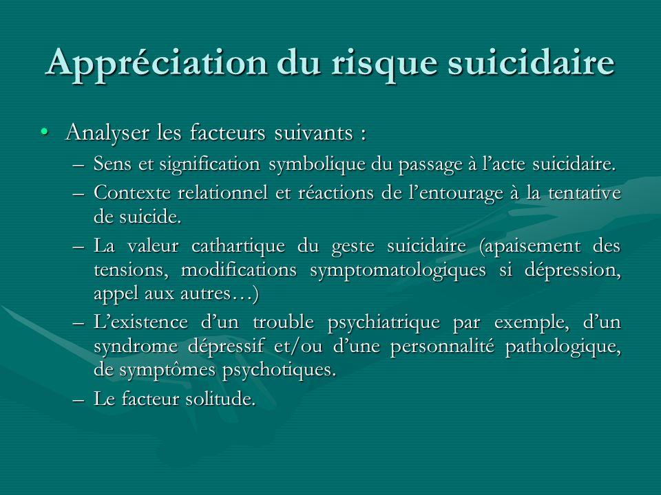 Appréciation du risque suicidaire Analyser les facteurs suivants :Analyser les facteurs suivants : –Sens et signification symbolique du passage à lact