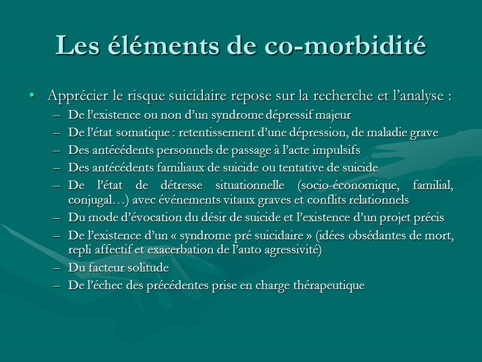 Les éléments de co-morbidité Apprécier le risque suicidaire repose sur la recherche et lanalyse :Apprécier le risque suicidaire repose sur la recherch