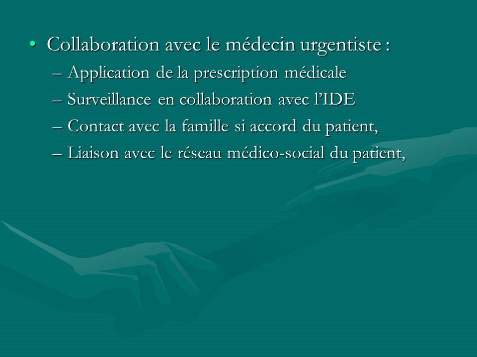 Collaboration avec le médecin urgentiste :Collaboration avec le médecin urgentiste : –Application de la prescription médicale –Surveillance en collabo