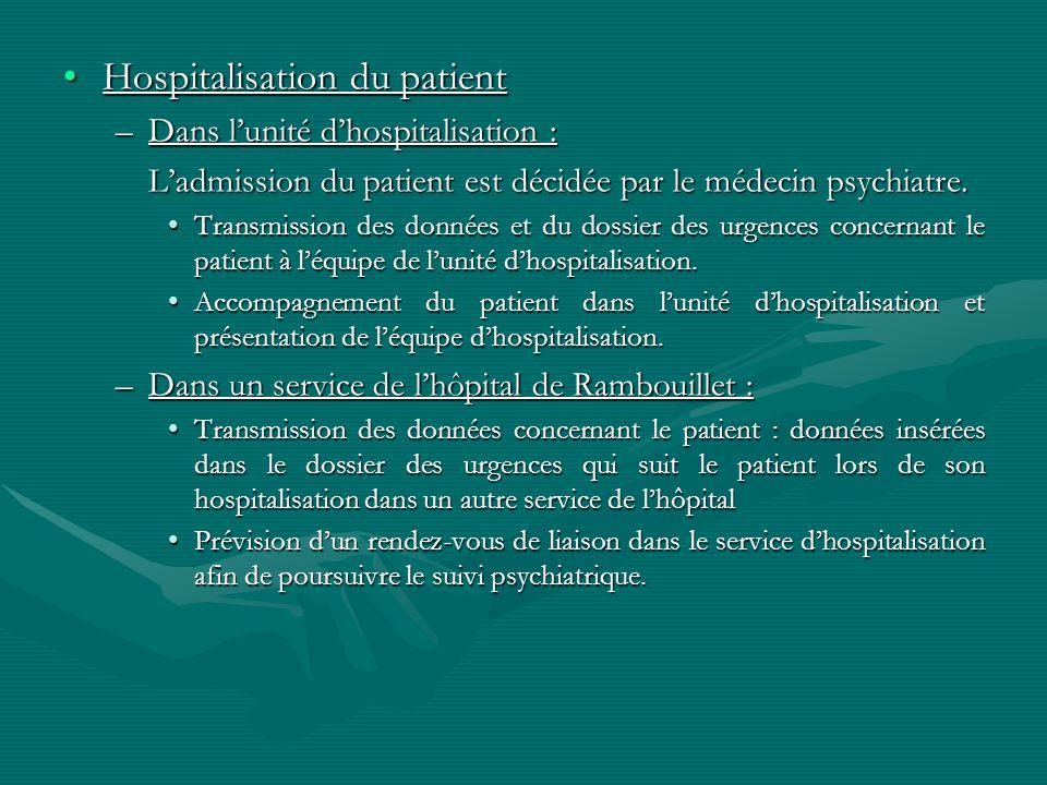 Hospitalisation du patientHospitalisation du patient –Dans lunité dhospitalisation : Ladmission du patient est décidée par le médecin psychiatre. Tran