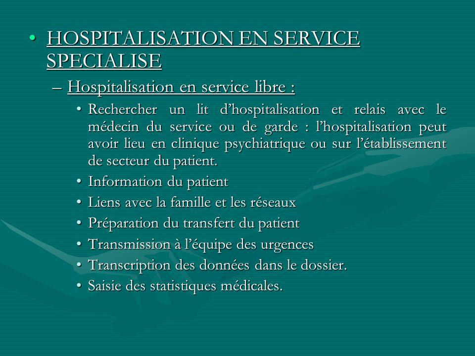 HOSPITALISATION EN SERVICE SPECIALISEHOSPITALISATION EN SERVICE SPECIALISE –Hospitalisation en service libre : Rechercher un lit dhospitalisation et r