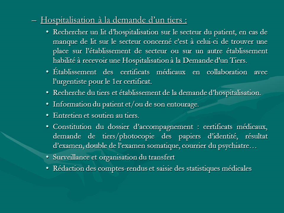 –Hospitalisation à la demande dun tiers : Rechercher un lit dhospitalisation sur le secteur du patient, en cas de manque de lit sur le secteur concern