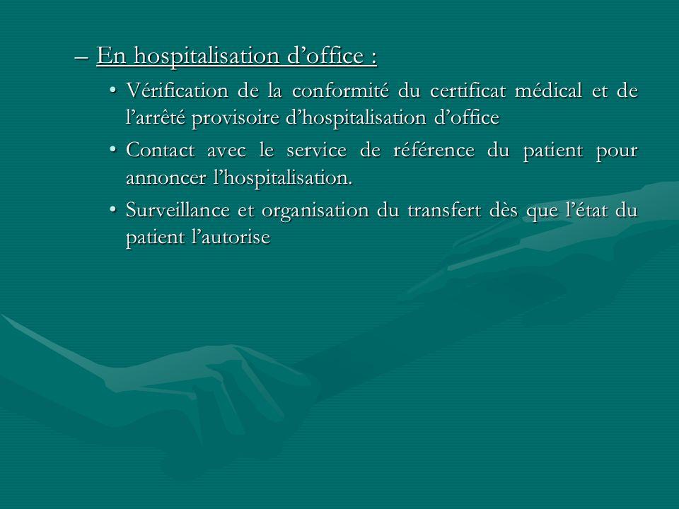 –En hospitalisation doffice : Vérification de la conformité du certificat médical et de larrêté provisoire dhospitalisation dofficeVérification de la