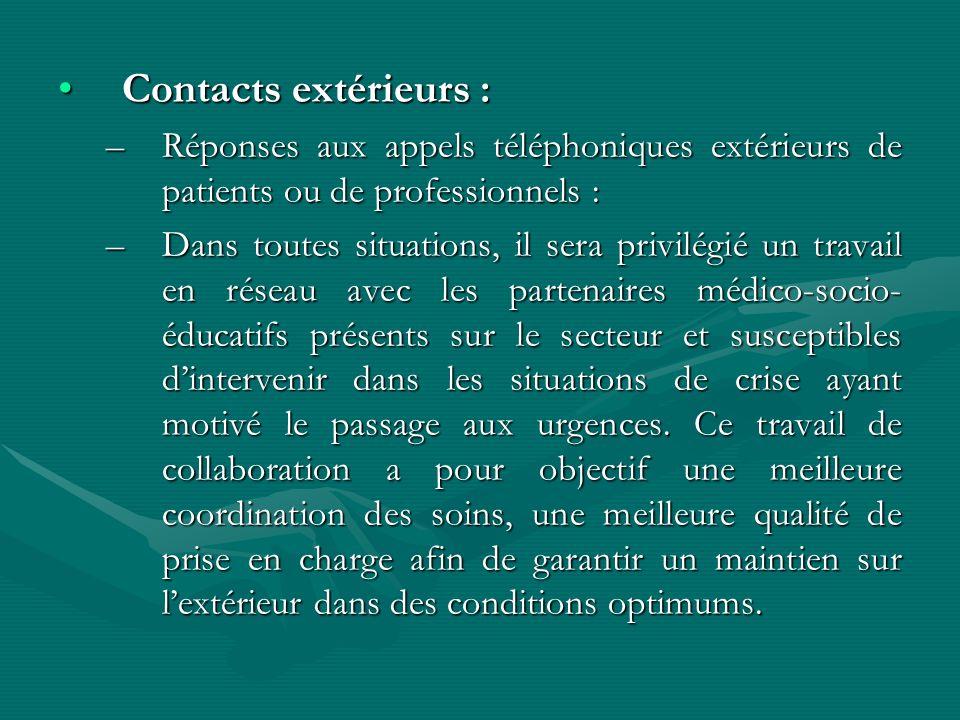 Contacts extérieurs :Contacts extérieurs : –Réponses aux appels téléphoniques extérieurs de patients ou de professionnels : –Dans toutes situations, i