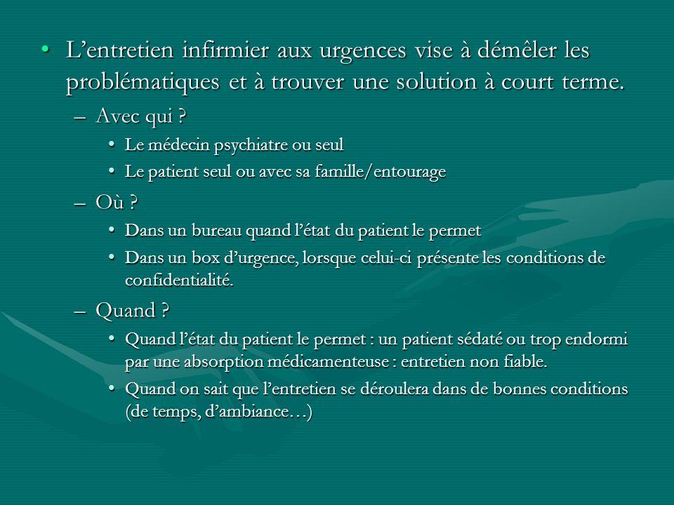 Lentretien infirmier aux urgences vise à démêler les problématiques et à trouver une solution à court terme.Lentretien infirmier aux urgences vise à d