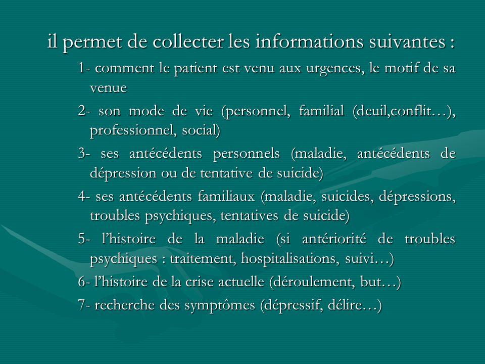 il permet de collecter les informations suivantes : 1- comment le patient est venu aux urgences, le motif de sa venue 2- son mode de vie (personnel, f