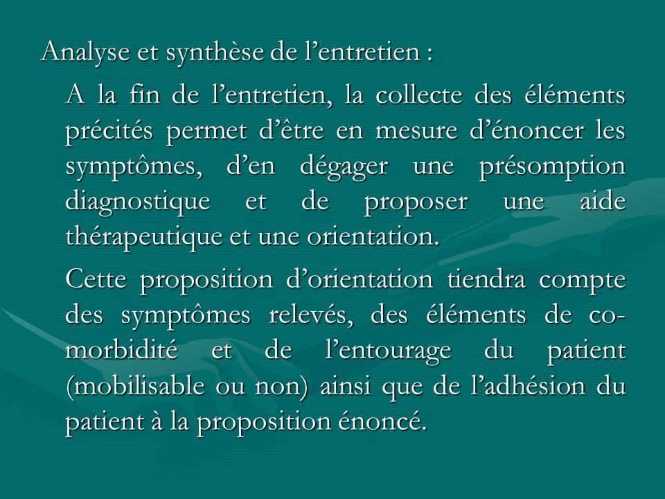 Analyse et synthèse de lentretien : A la fin de lentretien, la collecte des éléments précités permet dêtre en mesure dénoncer les symptômes, den dégag