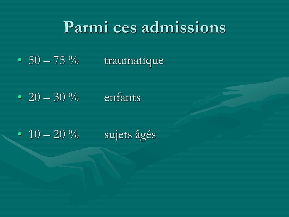 Parmi ces admissions 50 – 75 %traumatique50 – 75 %traumatique 20 – 30 %enfants20 – 30 %enfants 10 – 20 % sujets âgés10 – 20 % sujets âgés
