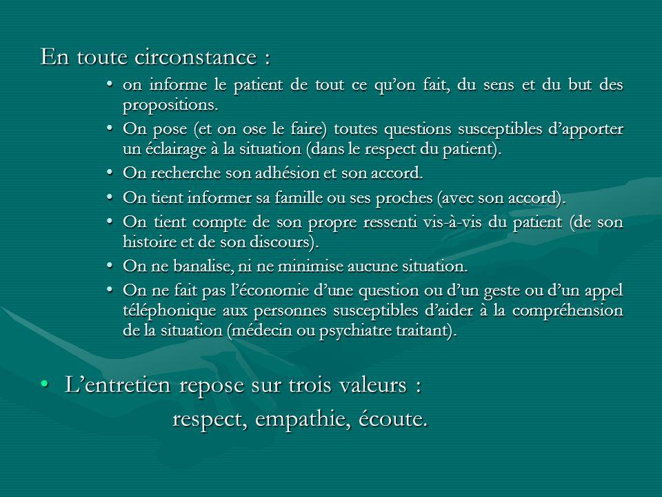 En toute circonstance : on informe le patient de tout ce quon fait, du sens et du but des propositions.on informe le patient de tout ce quon fait, du