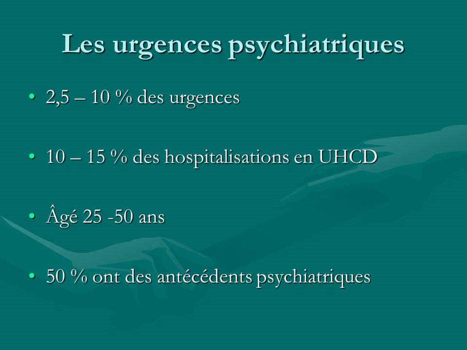 Les urgences psychiatriques 2,5 – 10 % des urgences2,5 – 10 % des urgences 10 – 15 % des hospitalisations en UHCD10 – 15 % des hospitalisations en UHC