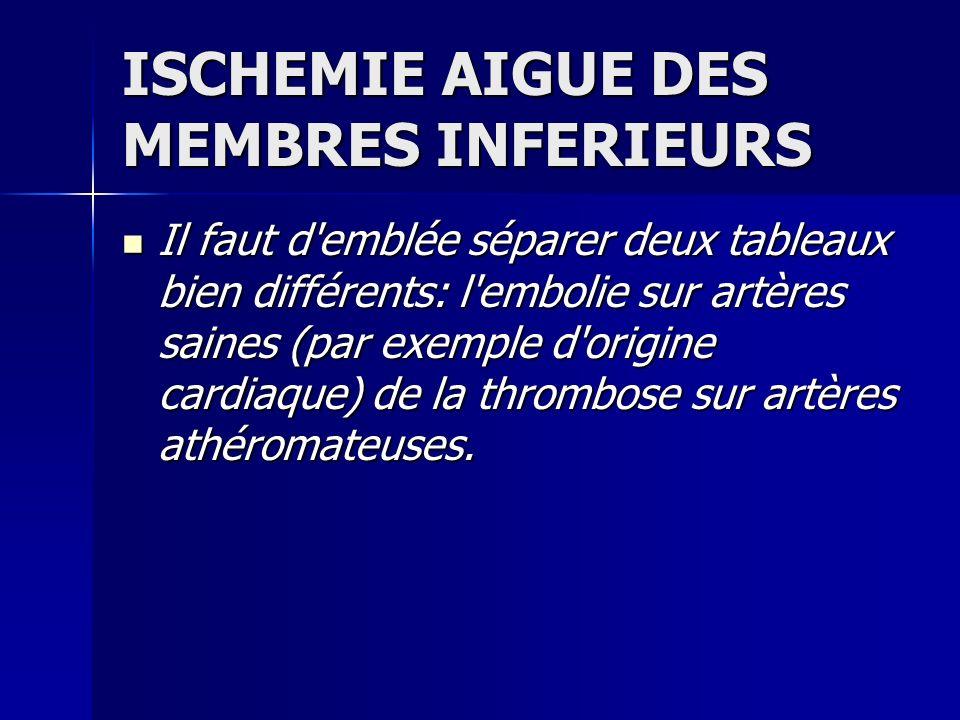 ISCHEMIE AIGUE DES MEMBRES INFERIEURS TRAITEMENT MEDICAL TRAITEMENT MEDICAL -Héparinothérapie à doses efficaces.