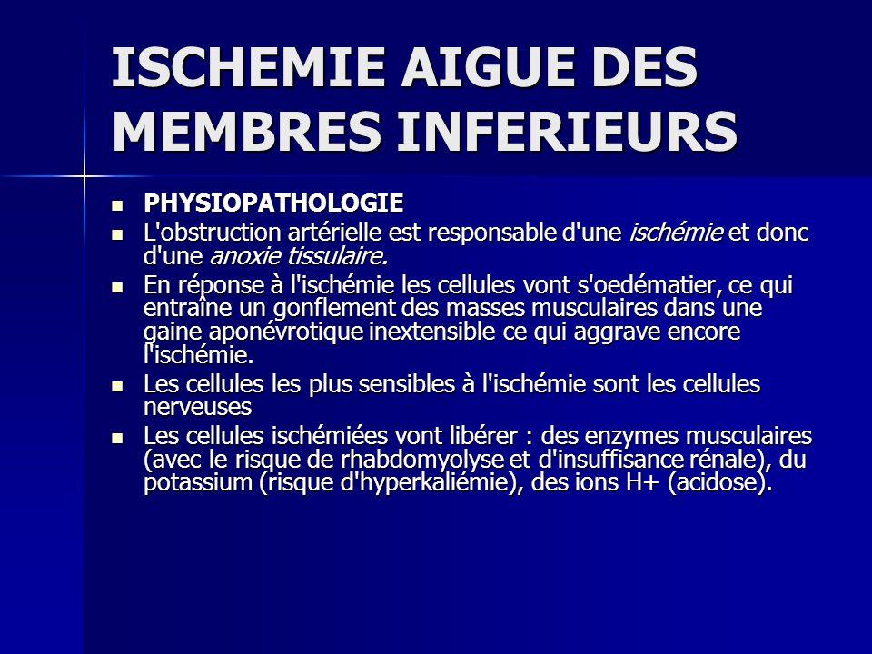 ISCHEMIE AIGUE DES MEMBRES INFERIEURS PHYSIOPATHOLOGIE PHYSIOPATHOLOGIE L'obstruction artérielle est responsable d'une ischémie et donc d'une anoxie t