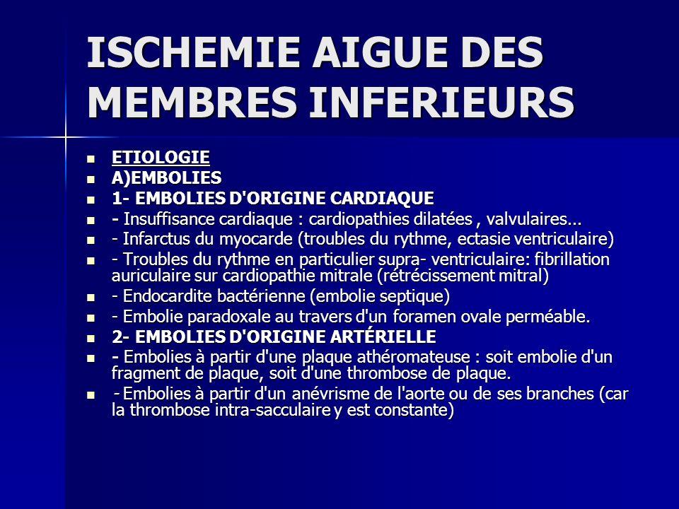ISCHEMIE AIGUE DES MEMBRES INFERIEURS ETIOLOGIE ETIOLOGIE A)EMBOLIES A)EMBOLIES 1- EMBOLIES D'ORIGINE CARDIAQUE 1- EMBOLIES D'ORIGINE CARDIAQUE - Insu