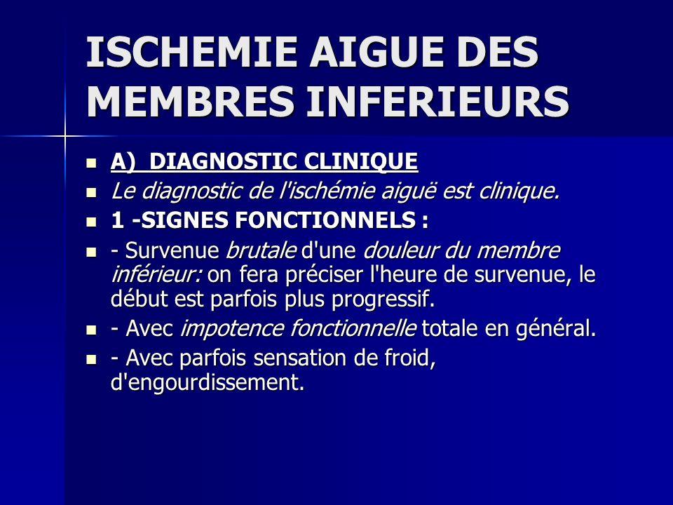 ISCHEMIE AIGUE DES MEMBRES INFERIEURS A) DIAGNOSTIC CLINIQUE A) DIAGNOSTIC CLINIQUE Le diagnostic de l'ischémie aiguë est clinique. Le diagnostic de l