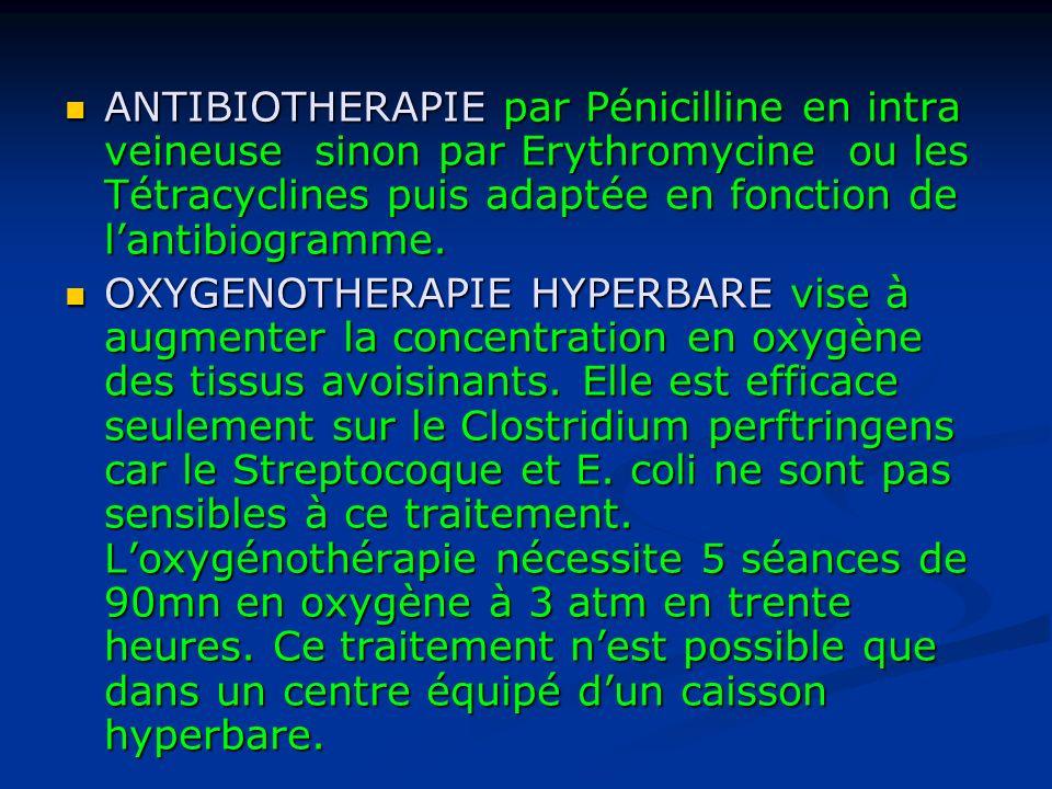 ANTIBIOTHERAPIE par Pénicilline en intra veineuse sinon par Erythromycine ou les Tétracyclines puis adaptée en fonction de lantibiogramme.