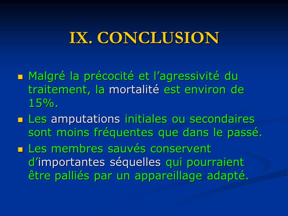 IX. CONCLUSION Malgré la précocité et lagressivité du traitement, la mortalité est environ de 15%. Malgré la précocité et lagressivité du traitement,