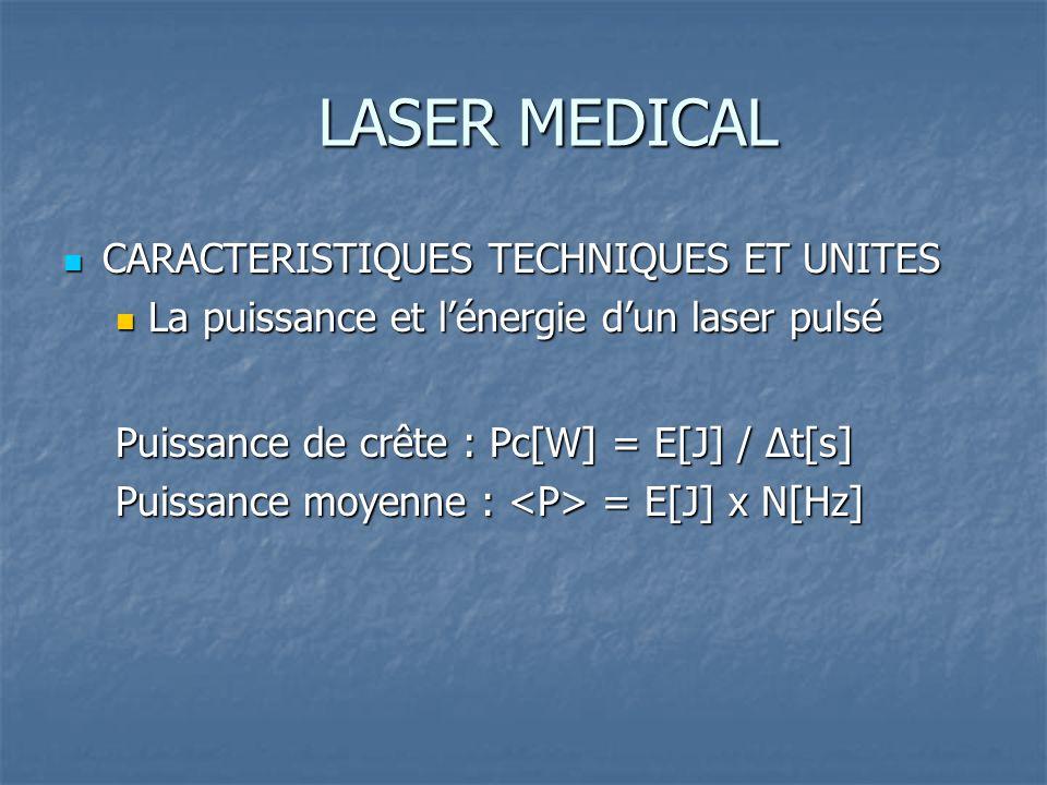 LASER MEDICAL CARACTERISTIQUES TECHNIQUES ET UNITES CARACTERISTIQUES TECHNIQUES ET UNITES La puissance et lénergie dun laser pulsé La puissance et lénergie dun laser pulsé Puissance de crête : Pc[W] = E[J] / Δt[s] Puissance moyenne : = E[J] x N[Hz]