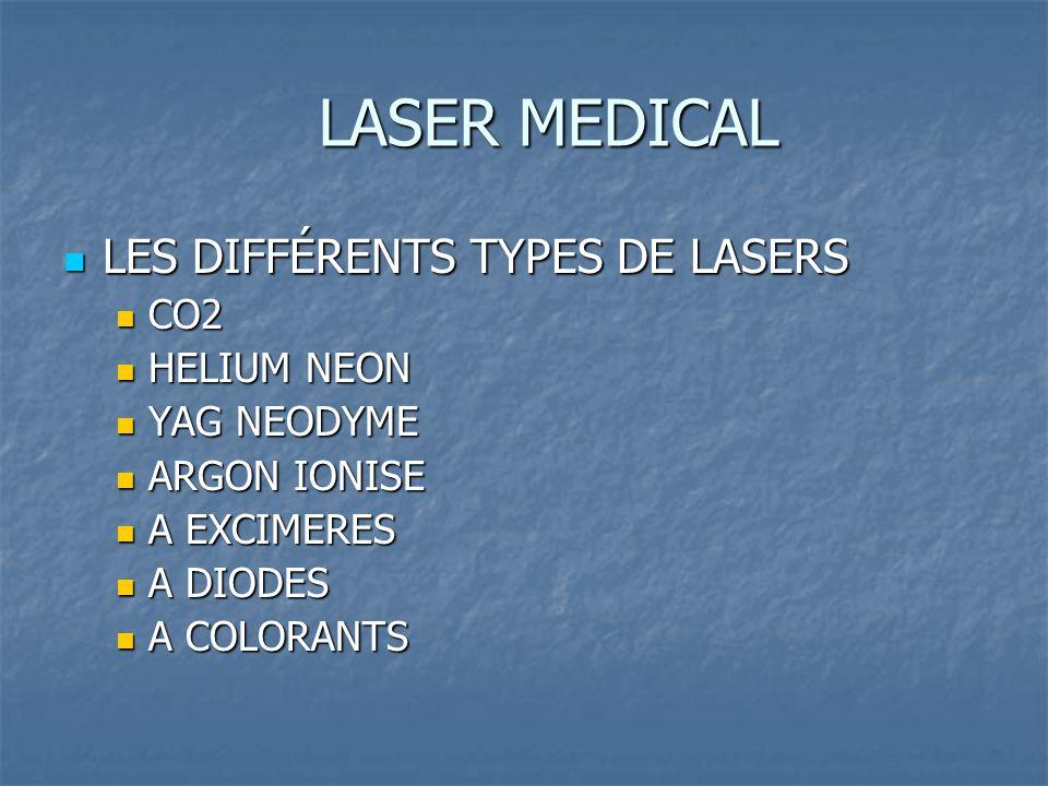 LASER MEDICAL LES DIFFÉRENTS TYPES DE LASERS LES DIFFÉRENTS TYPES DE LASERS CO2 CO2 HELIUM NEON HELIUM NEON YAG NEODYME YAG NEODYME ARGON IONISE ARGON IONISE A EXCIMERES A EXCIMERES A DIODES A DIODES A COLORANTS A COLORANTS
