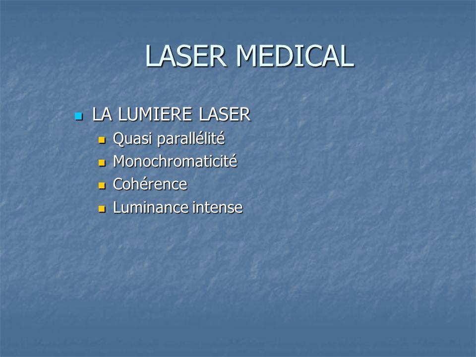LASER MEDICAL LA LUMIERE LASER LA LUMIERE LASER Quasi parallélité Quasi parallélité Monochromaticité Monochromaticité Cohérence Cohérence Luminance intense Luminance intense