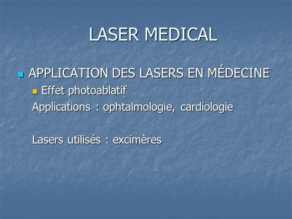 LASER MEDICAL APPLICATION DES LASERS EN MÉDECINE APPLICATION DES LASERS EN MÉDECINE Effet photoablatif Effet photoablatif Applications : ophtalmologie, cardiologie Lasers utilisés : excimères