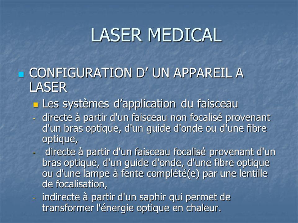 LASER MEDICAL CONFIGURATION D UN APPAREIL A LASER CONFIGURATION D UN APPAREIL A LASER Les systèmes dapplication du faisceau Les systèmes dapplication du faisceau - directe à partir d un faisceau non focalisé provenant d un bras optique, d un guide d onde ou d une fibre optique, - directe à partir d un faisceau focalisé provenant d un bras optique, d un guide d onde, d une fibre optique ou d une lampe à fente complété(e) par une lentille de focalisation, - indirecte à partir d un saphir qui permet de transformer l énergie optique en chaleur.